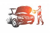 Auto, Disassembly, Repair, Service, Mechanic Concept. Hand Drawn Auto Mechanic Repair Auto Concept S poster