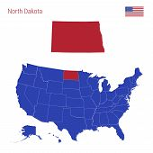 The State Of North Dakota Is Highlighted In Red. Blue Vector Map Of The United States Divided Into S poster