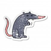 distressed sticker of a cartoon sneaky rat poster