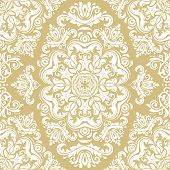 Classic Seamless Vector Pattern. Damask Orient Ornament. Classic Vintage Golden And White Background poster