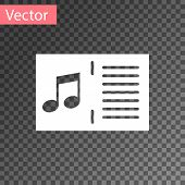 White Music Book With Note Icon Isolated On Transparent Background. Music Sheet With Note Stave. Not poster