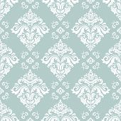 Classic Seamless Vector Pattern. Damask Orient Light Blue And White Ornament. Classic Vintage Backgr poster