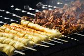 Barbecue Meat On Grill, Traditional Street Food. poster