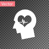 White Male Head With A Heartbeat Icon Isolated On Transparent Background. Head With Mental Health, H poster