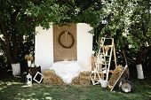 Wedding Wood Decoration. Rustic Wedding Style. Rustic Banquet. Mr. & Mrs. Signs On Wooden Board Deco poster