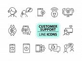 Customer Support Line Icon Set. Operator, Technical Help, Computer, Smartphone. Digital Gadgets Conc poster