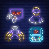 Game Players, Console And Joystick Neon Signs Set. Video Games, Leisure And Entertainment Design. Ni poster