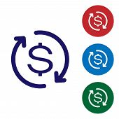 Blue Return Of Investment Icon Isolated On White Background. Money Convert Icon. Refund Sign. Dollar poster