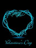 A vector illustration of a glowing heart shape with text on black background for Valentines Day and other occasions.