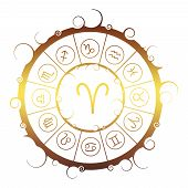 Astrological Symbols In The Circle. Golden Metallic Gradient. Ram Sign poster
