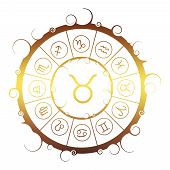 Astrological Symbols In The Circle. Golden Metallic Gradient. Bull Sign poster