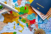 Map Of Europe With Passport And Compass For Travel. poster