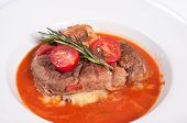Ossobuco With Mashed Potatoes And Tomato Sauce