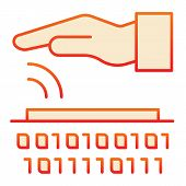 Identity Biometric Scanning Flat Icon. Verification Palmprint System Red Icons In Trendy Flat Style. poster