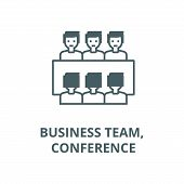 Business Team, Meeting, Conference Line Icon, Vector. Business Team, Meeting, Conference Outline Sig poster