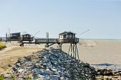 piers with fishing nets, Gironde Department, Aquitaine, France