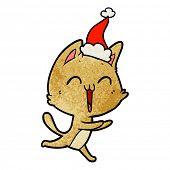 happy hand drawn textured cartoon of a cat meowing wearing santa hat poster
