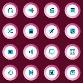 Multimedia Icons Colored Set With Loudspeaker, Bookmark, Picture And Other Memory Elements. Isolated poster