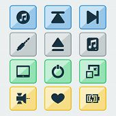 Multimedia Icons Set With Minimize, Charging, Jack And Other Palmtop Elements. Isolated  Illustratio poster
