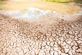 Cracked Soil In The Pond In Summer Season, Drought In Thailand, Climate Change poster