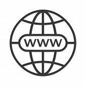 Www Icon. Web Site Icon. Www Icon With Hand Cursor In Flat Style Internet Http Address Icon Isolated poster