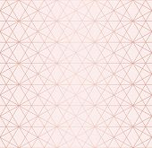 Rose Gold Pattern. Vector Geometric Lines Seamless Texture. Golden Ornament With Delicate Grid, Latt poster