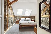 Bedroom Interior In Luxury Loft, Attic, Apartment With Roof Windows - Hotel Room - Vacation Concept  poster