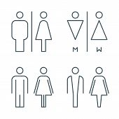 Thin Line Toilet Door Signs. Outline Bathroom Icons. Line Wc Pictogram. Linear Male And Female Symbo poster