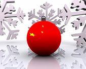 Christmas ball with flag - 3D