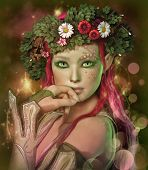 stock photo of fairyland  - a portrait of an elven maid with a wreath on her head - JPG
