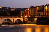 Ancient Roman Bridge Over Adige River In Verona At Morning, Veneto, Italy