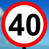 image of mph  - A view of a 40 mph speed limit sign - JPG