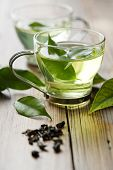 glass cup with fresh green tea