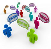 Customer reviews in speech clouds or bubbles for people sharing their review of products or services