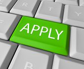 Apply online by pressing this green computer keyboard key to complete your application for a job, en