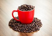 Cup Full Of Coffe Beans