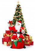 Santa sonriente y árbol de Navidad