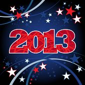2013 New Year Red and Blue Stars background.