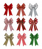 A set of colorful holiday bows isolation over white background