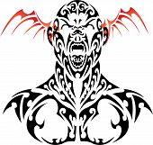 stock photo of beast-man  - vector tattoo daemon face with red wing - JPG