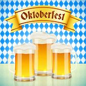 Oktoberfest vector greeting card with beer