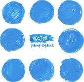 Round blue marker vector color stains