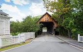 stock photo of woodstock  - This is one of the many covered bridges that can be seen in Vermont - JPG