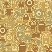 Retro seamless background with robots.