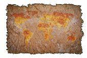 Old Vintage Map On Burned Paper Background