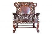 Old Large Wooden Polished Chinese Chair