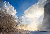 pic of reprocess  - thermal power plant in winter in the fog - JPG
