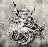 Tattoo art, sketch of a viking warrior, Illustration of an ancient wooden figurehead on a Viking lon