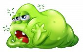 stock photo of boredom  - Illustration of a greenslime monster in boredom on a white background - JPG