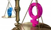 picture of gender  - A gold justice scale with the two different gender symbols on either side balancing each other out on an isolated white background - JPG